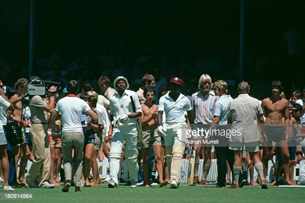 Richard Austin and Alvin Greenidge of the rebel West Indies XI play a one-day international against South Africa in Cape Town, during their tour of...