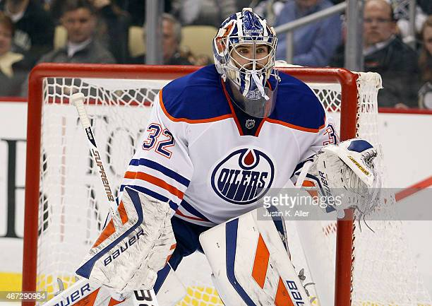 Richard Bachman of the Edmonton Oilers during the game against the Pittsburgh Penguins at Consol Energy Center on March 12 2015 in Pittsburgh...