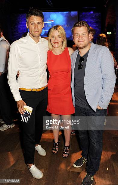 Richard Bacon Edith Bowman and James Corden attend the launch of British Airways Silent Picturehouse at Vinopolis on July 22 2013 in London England