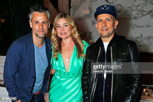 Richard Bacon Kate Bryan and Marc Quinn attend a preopening dinner hosted by Kate Bryan at Zobler's Delicatessen at The Ned London on April 25 2017...