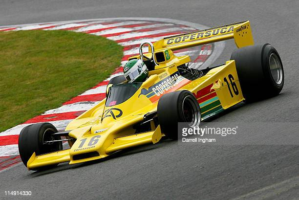 Richard Barber drives the ex Emerson Fittipaldi Copersucar Fittipaldi F5a during practice for the Masters Historic Racing Festival F1 race at the...