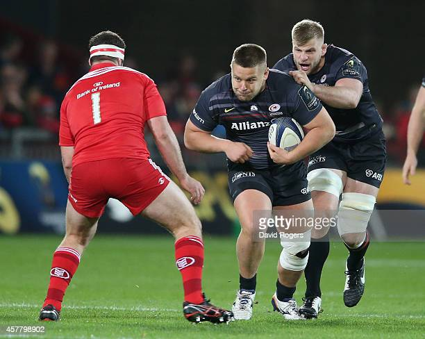 Richard Barrington of Saracens charges upfield during the European Rugby Champions Cup match between Munster and Saracens at Thomond Park on October...
