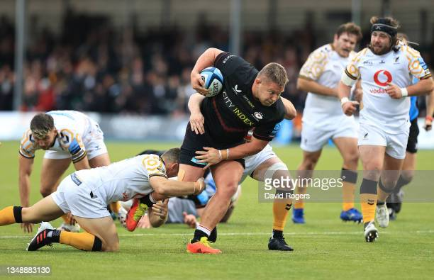 Richard Barrington of Saracens charges upfield during the Gallagher Premiership Rugby match between Saracens and Wasps at StoneX Stadium on October...