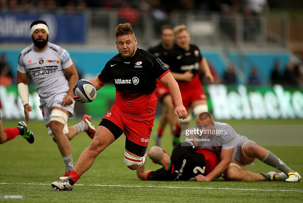 Richard Barrington of Saracens makes a break during the European Rugby Champions Cup match between Saracens and Oyonnax at Allianz Park on December 19, 2015 in Barnet, England.