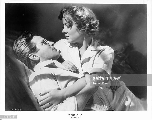 Richard Basehart Audrey Totter is romanced by Barry Sullivan in a scene from the film 'Tension' 1949