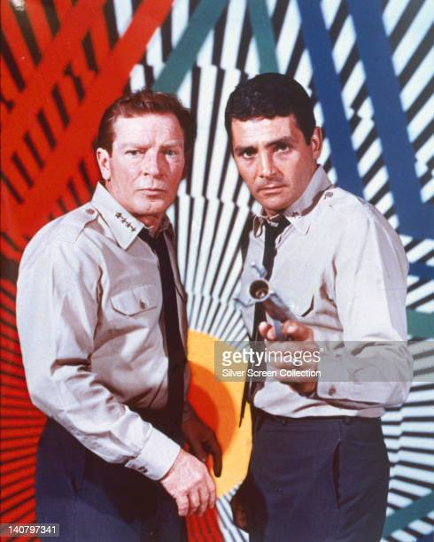 Richard Basehart US actor and David Hedison US actor both in costume in a publicity portrait issued for the US television series 'Voyage to the...