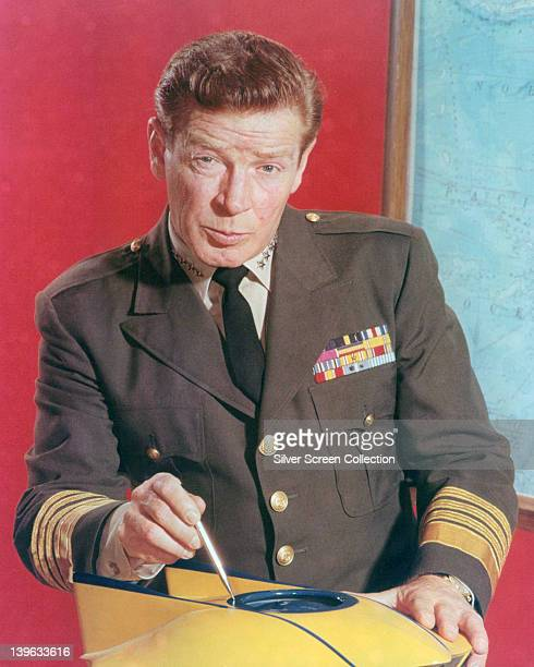 Richard Basehart US actor wearing a naval uniform in a publicity portrait issued for the US television series 'Voyage to the Bottom of the Sea' circa...