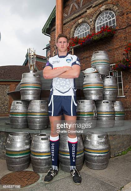 Richard Beck of Yorkshire Carnegie poses for a photo during the 2014/15 Greene King IPA Championship Captains photocall at Greene King IPA brewery on...