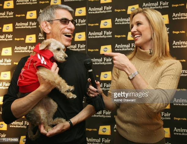 Richard Belzer and his dog Bebe are interviewed by Laurie Dhue at the Animal Fair Magazine's Annual Canine Pet Halloween Party on October 30 2006 in...