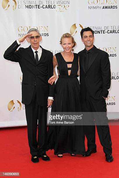 Richard Belzer, Kelli Giddish and Danny Pino arrive at the Golden Nymph Award during the 52nd Monte Carlo TV Festival Closing Ceremony on June 14,...