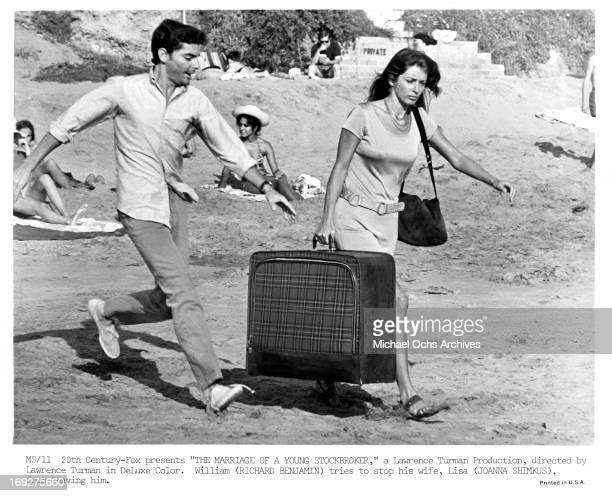 Richard Benjamin tries to stop his wife Joanna Shimkus from leaving him in a scene from the film 'The Marriage Of A Young Stockbroker' 1971
