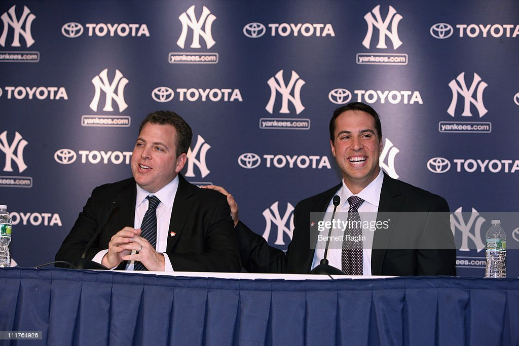 Richard Berlin, Executive Director of Harlem RBI and New York Yankee Mark Teixeira attend a press conference to launch New York Yankees' Mark Teixeira's 'Dream Team' campaign to raise funds for Harlem RBI at Yankee Stadium on April 6, 2011 in New York City.