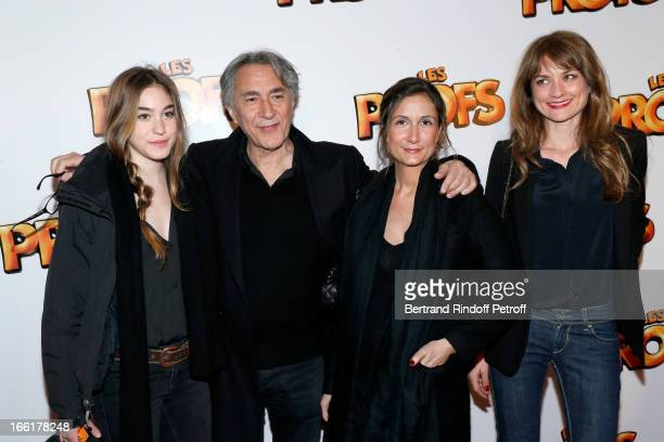Richard Berry Between his daughters and agents Josephine and Coline and his wife Pascale Louange attend 'Les Profs' Movie Premiere at Le Grand Rex on...