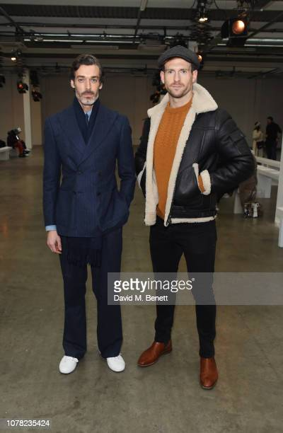 Richard Biedul and Craig McGinlay attend the Alex Mullins show during London Fashion Week Men's January 2019 at the BFC Show Space on January 6 2019...