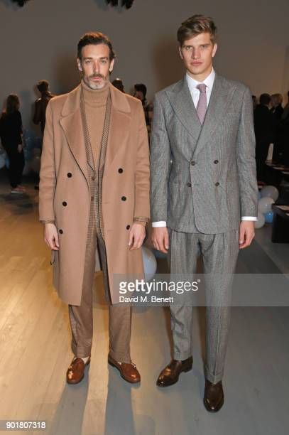 Richard Biedul and Toby Huntington-Whiteley attends the What We Wear show during London Fashion Week Men's January 2018 at BFC Show Space on January...