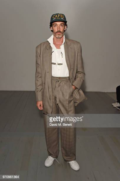 Richard Biedul attends the Alex Mullins show during London Fashion Week Men's June 2018 at the BFC Show Space on June 10 2018 in London England