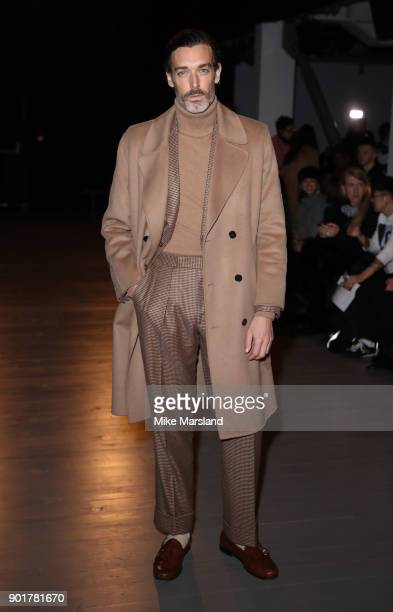 Richard Biedul attends the Lawrence Sullivan Show during London Fashion Week Men's January 2018 at on January 6 2018 in London England
