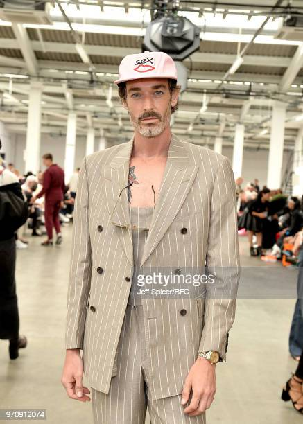 Richard Biedul attends the MAN show during London Fashion Week Men's June 2018 on June 10 2018 at the Old Truman Brewery in London England