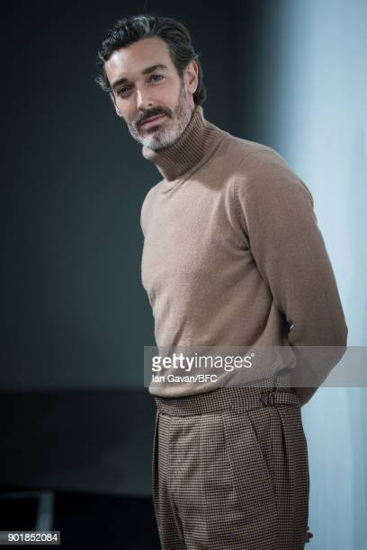 Richard Biedul backstage ahead of the Oliver Spencer show during London Fashion Week Men's January 2018 at BFC Show Space on January 6 2018 in London...