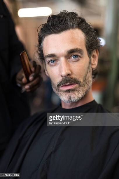 Richard Biedul backstage at the Oliver Spencer show during London Fashion Week Men's June 2018 at BFC Show Space on June 9 2018 in London England