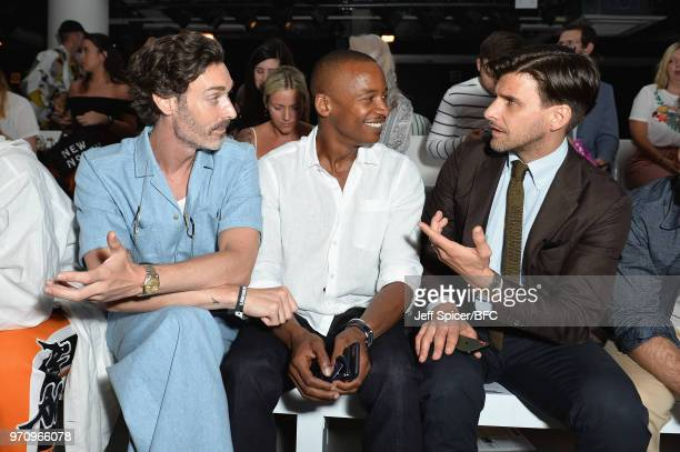 Richard Biedul Eric Underwood and Johannes Huebl attend the Christopher Raeburn show during London Fashion Week Men's June 2018 at the BFC Show Space...