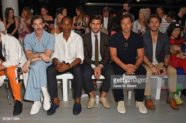 Richard Biedul Eric Underwood Johannes Huebl Paul Sculfor and Deano Bugatti attend the Christopher Raeburn show during London Fashion Week Men's June...