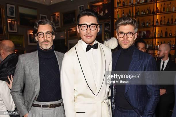 Richard Biedul Hu Bing and Darren Kennedy attend the GQ London Fashion Week Men's 2018 closing dinner hosted by Dylan Jones and Rita Ora at Berners...