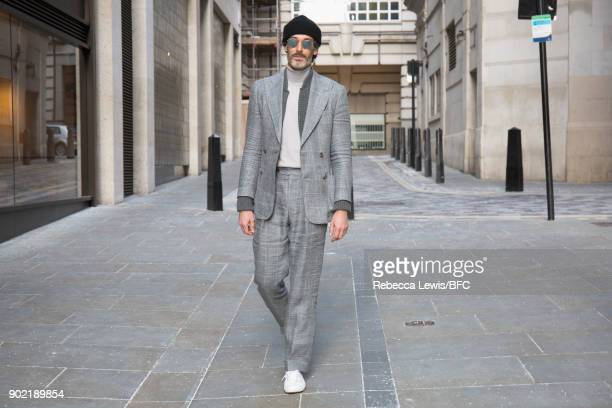 Richard Biedul is seen ahead of the Lou Dalton Presentation during London Fashion Week Men's January 2018 at on January 7 2018 in London England