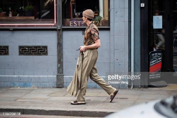 Richard Biedul is seen outside John Lawrence Sullivan during London Fashion Week Men's June 2019 on June 08, 2019 in London, England.