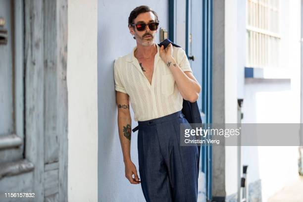 Richard Biedul is seen outside Marni during the Milan Men's Fashion Week Spring/Summer 2020 on June 15, 2019 in Milan, Italy.