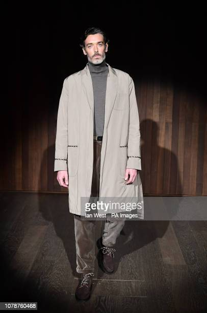 Richard Biedul on the catwalk during the Oliver Spencer London Fashion Week MenÕs AW19 show held at the Royal Academy Of Art London