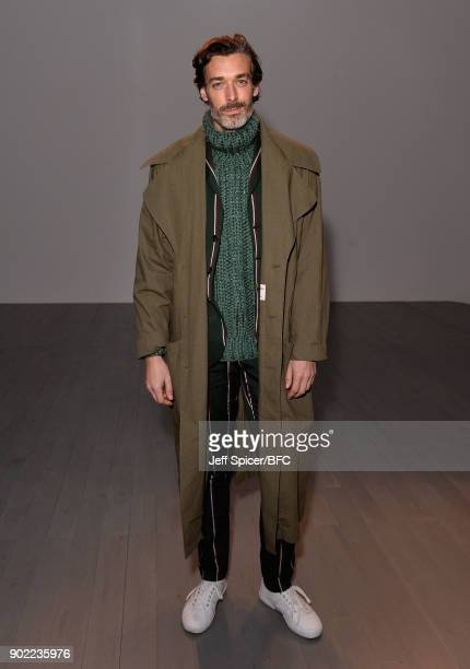 Richard Biedul on the front row at the Christopher Raeburn show during London Fashion Week Men's January 2018 at BFC Show Space on January 7 2018 in...