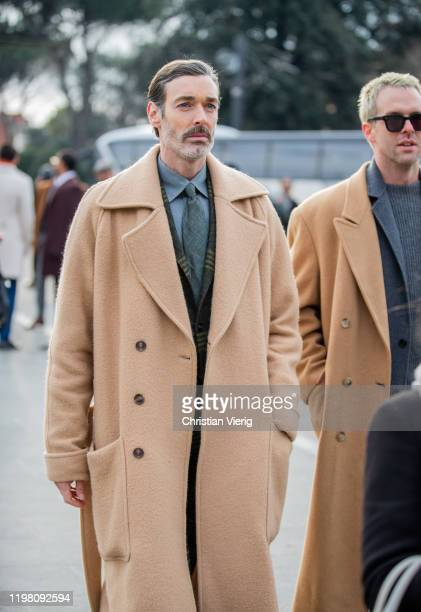Richard Biedul seen wearing beige wool coat during Pitti Uomo 97 at Fortezza Da Basso on January 07 2020 in Florence Italy