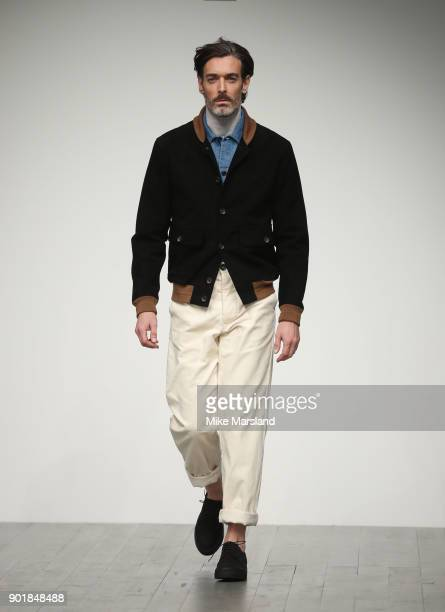 Richard Biedul walks the runway at the Oliver Spencer show during London Fashion Week Men's January 2018 at BFC Show Space on January 6, 2018 in...