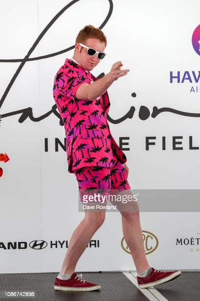 Richard Blackburn takes part in Fashion in the Fields during the Boxing Day Races at Ellerslie Racecourse on December 26 2018 in Auckland New Zealand