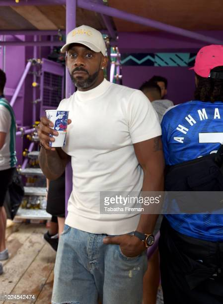 Richard Blackwood poses on the Red Bull Music X Mangrove float at Notting Hill Carnival on August 27, 2018 in London, England.