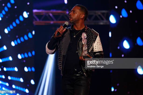 Richard Blackwood speaks on stage at the MOBO Awards at First Direct Arena Leeds on November 29 2017 in Leeds England