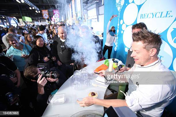 Richard Blais prepares a dish utilizing molecular gastronomy at the New York City Wine And Food Festival Saturday Oct 13 2012 in New York City