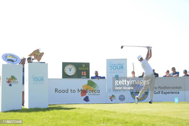 Richard Bland of England tees off on the first during day 1 of the Challenge Tour Grand Final at Club de Golf Alcanada on November 07 2019 in...