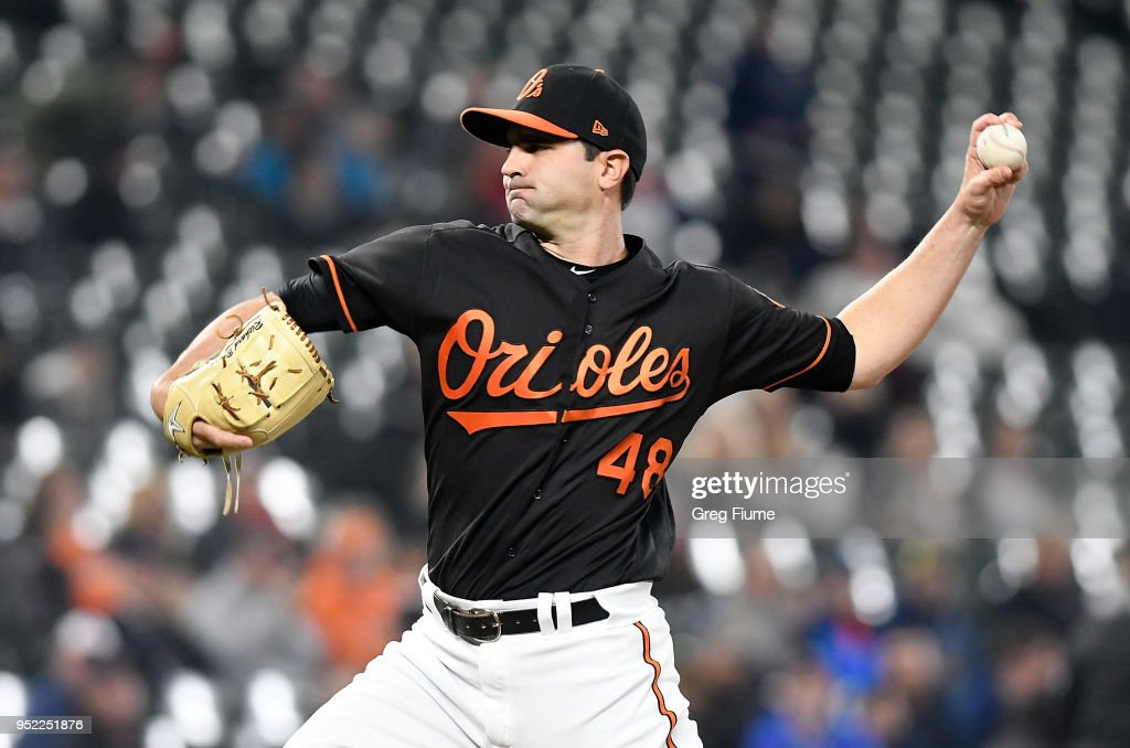 Richard Bleier #48 of the Baltimore Orioles pitches in the eighth inning against the Detroit Tigers at Oriole Park at Camden Yards on April 27, 2018 in Baltimore, Maryland.