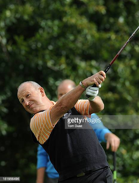 Richard Body tees off from the 1st hole during the final day of the PGA Super 60's Tournament at the De Vere Belton Woods Golf Club on September 13...