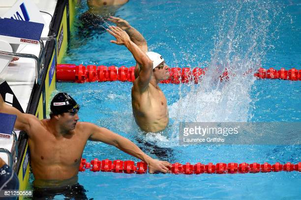 Richard Bohus of Hungary celebrates winning Bronze during the Men's 4x100m Freestyle Final on day ten of the Budapest 2017 FINA World Championships...