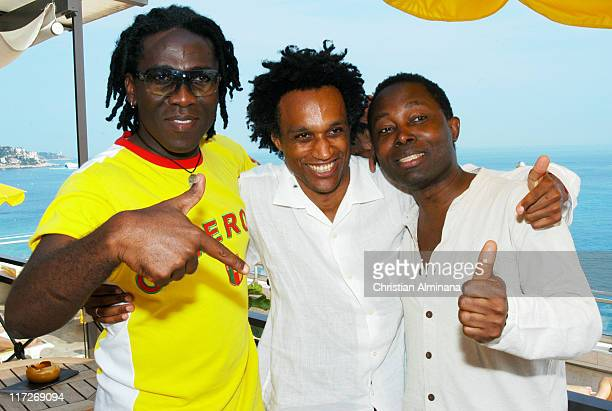Richard Bona, Gerald Toto and Lokua Kanza during Nice Jazz Festival 2004 - Day 8 - Richard Bona in Nice, France.