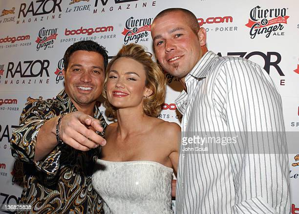 Richard Botto editorinchief/CEO of Razor Magazine Kelly Carlson and Bobby Crosby MLB's Rookie of the Year with the Oakland A's