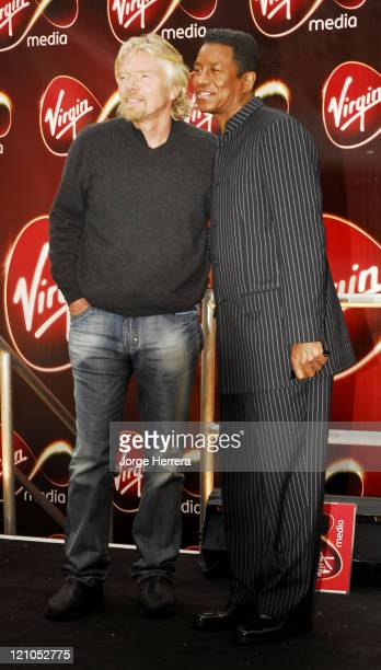 Richard Branson and Jermaine Jackson during Virgin Media Photocall at Covent Garden in London Great Britain