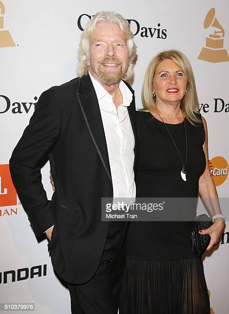 Richard Branson and Joan Templeman arrive at the 2016 PreGRAMMY Gala and Salute to Industry Icons honoring Irving Azoff held at The Beverly Hilton...