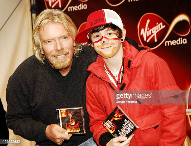 Richard Branson and Lil Chris during Virgin Media Photocall at Covent Garden in London Great Britain