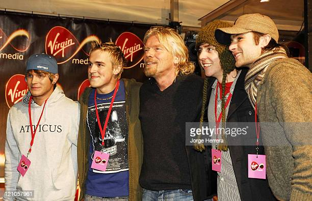 Richard Branson and McFly during Virgin Media Photocall at Covent Garden in London Great Britain