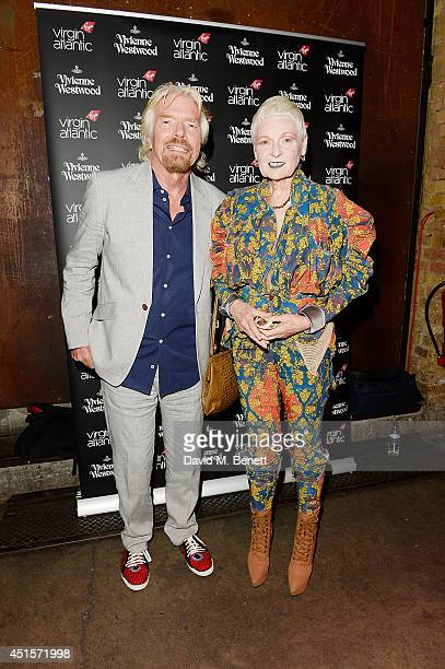 Richard Branson and Vivienne Westwood attend the launch party to celebrate Virgin Atlantic's new Vivienne Westwood uniform collection at Village...