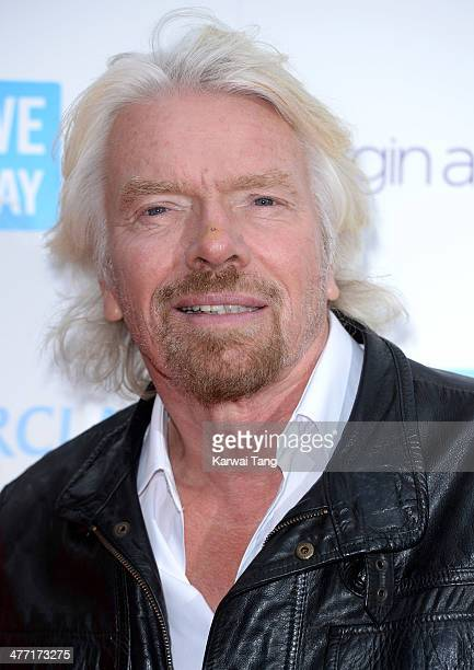 Richard Branson attends We Day UK a charity event to bring young people together at Wembley Arena on March 7 2014 in London England